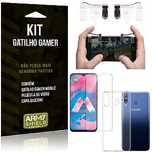 Gatilho Gamer Samsung Galaxy M30 Gatilho + Capa Silicone + Película Vidro - Armyshield