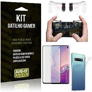 Gatilho Gamer Samsung Galaxy S10 Gatilho + Capa Silicone + Película Vidro - Armyshield