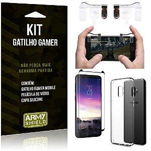 Gatilho Gamer Samsung Galaxy S9 Gatilho + Capa Silicone + Película Vidro - Armyshield