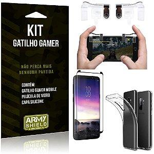 Gatilho Gamer Samsung Galaxy S9 Plus Gatilho + Capa Silicone + Película Vidro - Armyshield