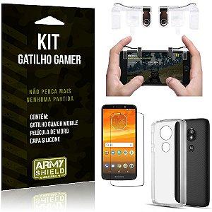Gatilho Gamer Motorola Moto E5 Play Gatilho + Capa Silicone + Película Vidro - Armyshield