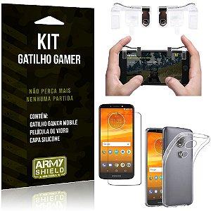 Gatilho Gamer Motorola Moto E5 Plus Gatilho + Capa Silicone + Película Vidro - Armyshield