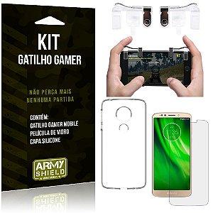 Gatilho Gamer Motorola Moto G6 Play Gatilho + Capa Silicone + Película Vidro - Armyshield