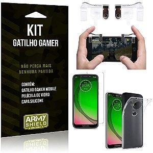 Gatilho Gamer Motorola Moto G7 Play Gatilho + Capa Silicone + Película Vidro - Armyshield