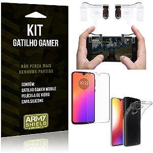 Gatilho Gamer Motorola Moto G7 Plus Gatilho + Capa Silicone + Película Vidro - Armyshield
