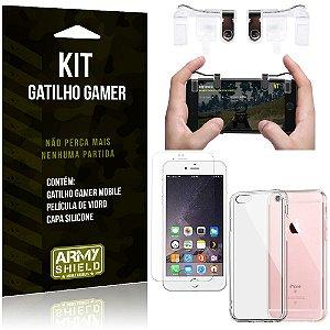Gatilho Gamer Apple iPhone 6 - 6S Gatilho + Capa Silicone + Película Vidro - Armyshield
