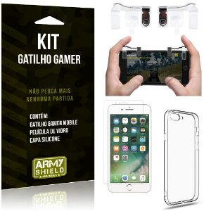 Gatilho Gamer Apple iPhone 8 Plus Gatilho + Capa Silicone + Película Vidro - Armyshield