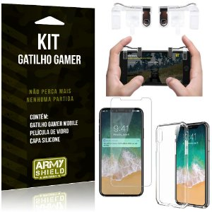 Gatilho Gamer Apple iPhone X Gatilho + Capa Silicone + Película Vidro - Armyshield