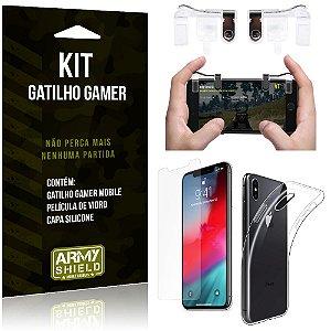 Gatilho Gamer Apple iPhone XS Max 6.5 Gatilho + Capa Silicone + Película Vidro - Armyshield