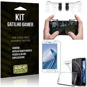 Gatilho Gamer Zenfone 4 - 5.5' ZE554KL Gatilho + Capa Silicone + Película Gel - Armyshield