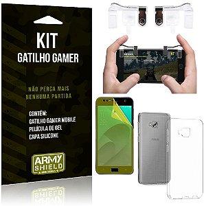 Gatilho Gamer Zenfone 4 Selfie Pro ZD552KL Gatilho + Capa Silicone + Película Gel - Armyshield