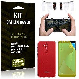 Gatilho Gamer Zenfone 5 Selfie/Pro ZC600KL Gatilho + Capa Silicone + Película Gel - Armyshield