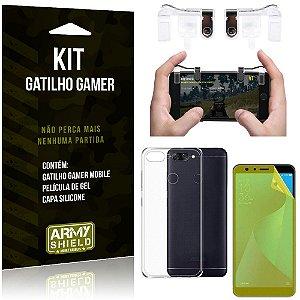 Gatilho Gamer Zenfone Max Plus M1 ZB570TL Gatilho + Capa Silicone + Película Gel - Armyshield