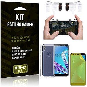 Gatilho Gamer Zenfone Max Pro M1 ZB602KL Gatilho + Capa Silicone + Película Gel - Armyshield