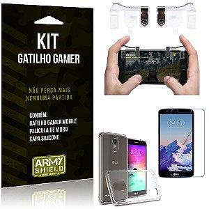 Gatilho Gamer LG K10 Pro Gatilho + Capa Silicone + Película Vidro - Armyshield