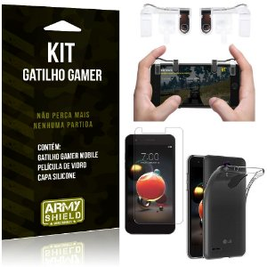 Gatilho Gamer LG K9 Gatilho + Capa Silicone + Película Vidro - Armyshield