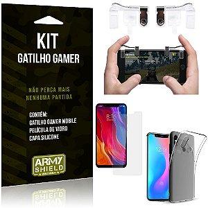 Gatilho Gamer Xiaomi Mi 8 Gatilho + Capa Silicone + Película Vidro - Armyshield