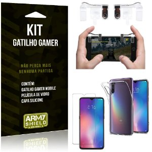 Gatilho Gamer Xiaomi Mi 9 Gatilho + Capa Silicone + Película Vidro - Armyshield