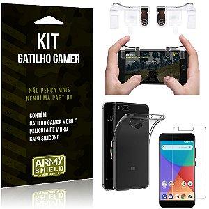 Gatilho Gamer Xiaomi Mi A1 (Mi 5X) Gatilho + Capa Silicone + Película Vidro - Armyshield