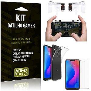 Gatilho Gamer Xiaomi Mi A2 Lite (Redmi 6 Pro) Gatilho + Capa Silicone + Película Vidro - Armyshield