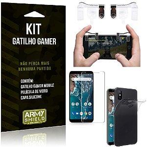 Gatilho Gamer Xiaomi Mi A2 (Mi 6X) Gatilho + Capa Silicone + Película Vidro - Armyshield