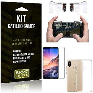 Gatilho Gamer Xiaomi Mi Max 3 Gatilho + Capa Silicone + Película Vidro - Armyshield