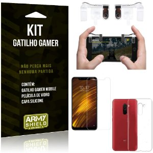 Gatilho Gamer Xiaomi Pocophone F1 Gatilho + Capa Silicone + Película Vidro - Armyshield