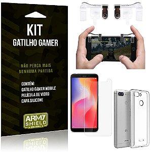 Gatilho Gamer Xiaomi Redmi 6 Gatilho + Capa Silicone + Película Vidro - Armyshield