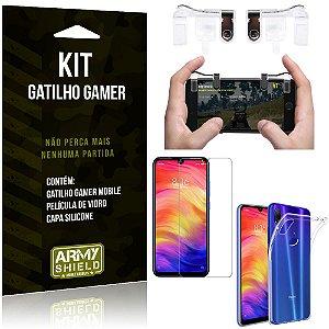 Gatilho Gamer Xiaomi Redmi Note 7 - Note 7 Pro Gatilho + Capa Silicone + Película Vidro - Armyshield