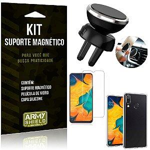 Suporte Magnético Galaxy A20 Suporte + Capa Silicone + Película Vidro - Armyshield