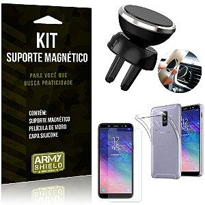 Suporte Magnético Galaxy A6 Plus Suporte + Capa Silicone + Película Vidro - Armyshield