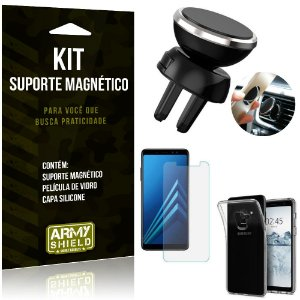 Suporte Magnético Galaxy A8 Plus Suporte + Capa Silicone + Película Vidro - Armyshield
