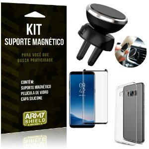 Suporte Magnético Galaxy S8 Suporte + Capa Silicone + Película Vidro - Armyshield