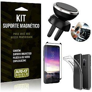 Suporte Magnético Galaxy S9 Plus Suporte + Capa Silicone + Película Vidro - Armyshield