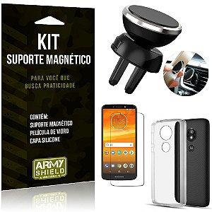 Suporte Magnético Motorola Moto E5 Play Suporte + Capa Silicone + Película Vidro - Armyshield