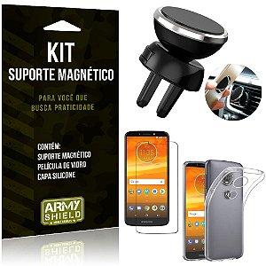 Suporte Magnético Motorola Moto E5 Plus Suporte + Capa Silicone + Película Vidro - Armyshield