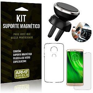 Suporte Magnético Motorola Moto G6 Play Suporte + Capa Silicone + Película Vidro - Armyshield