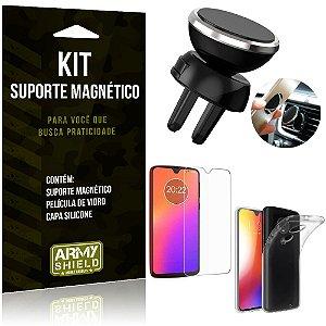 Suporte Magnético Motorola Moto G7 Suporte + Capa Silicone + Película Vidro - Armyshield