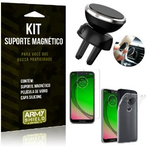 Suporte Magnético Motorola Moto G7 Play Suporte + Capa Silicone + Película Vidro - Armyshield