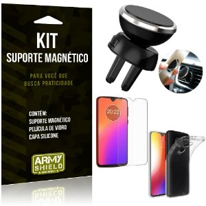 Suporte Magnético Motorola Moto G7 Plus Suporte + Capa Silicone + Película Vidro - Armyshield