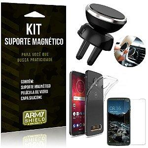 Suporte Magnético Motorola Moto Z3 Play Suporte + Capa Silicone + Película Vidro - Armyshield