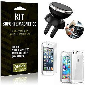 Suporte Magnético Apple iPhone 5 - 5S - SE Suporte + Capa Silicone + Película Vidro - Armyshield