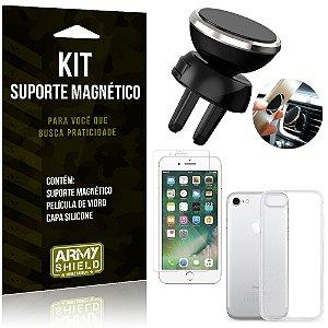 Suporte Magnético Apple iPhone 7 Suporte + Capa Silicone + Película Vidro - Armyshield