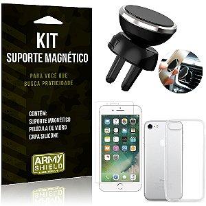 Suporte Magnético Apple iPhone 8 Suporte + Capa Silicone + Película Vidro - Armyshield