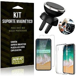 Suporte Magnético Apple iPhone X Suporte + Capa Silicone + Película Vidro - Armyshield