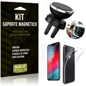 Suporte Magnético Apple iPhone XR 6.1 Suporte + Capa Silicone + Película Vidro - Armyshield