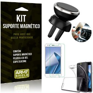 Suporte Magnético Zenfone 4 - 5.5' ZE554KL Suporte + Capa Silicone + Película Gel - Armyshield