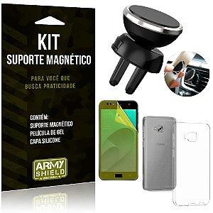 Suporte Magnético Zenfone 4 Selfie ZD553KL Suporte + Capa Silicone + Película Gel - Armyshield