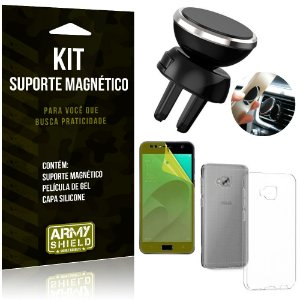 Suporte Magnético Zenfone 4 Selfie Pro ZD552KL Suporte +Capa Silicone +Película Gel - Armyshield