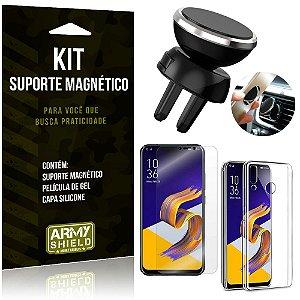 Suporte Magnético Zenfone 5Z ZS620KL Suporte + Capa Silicone + Película Gel - Armyshield